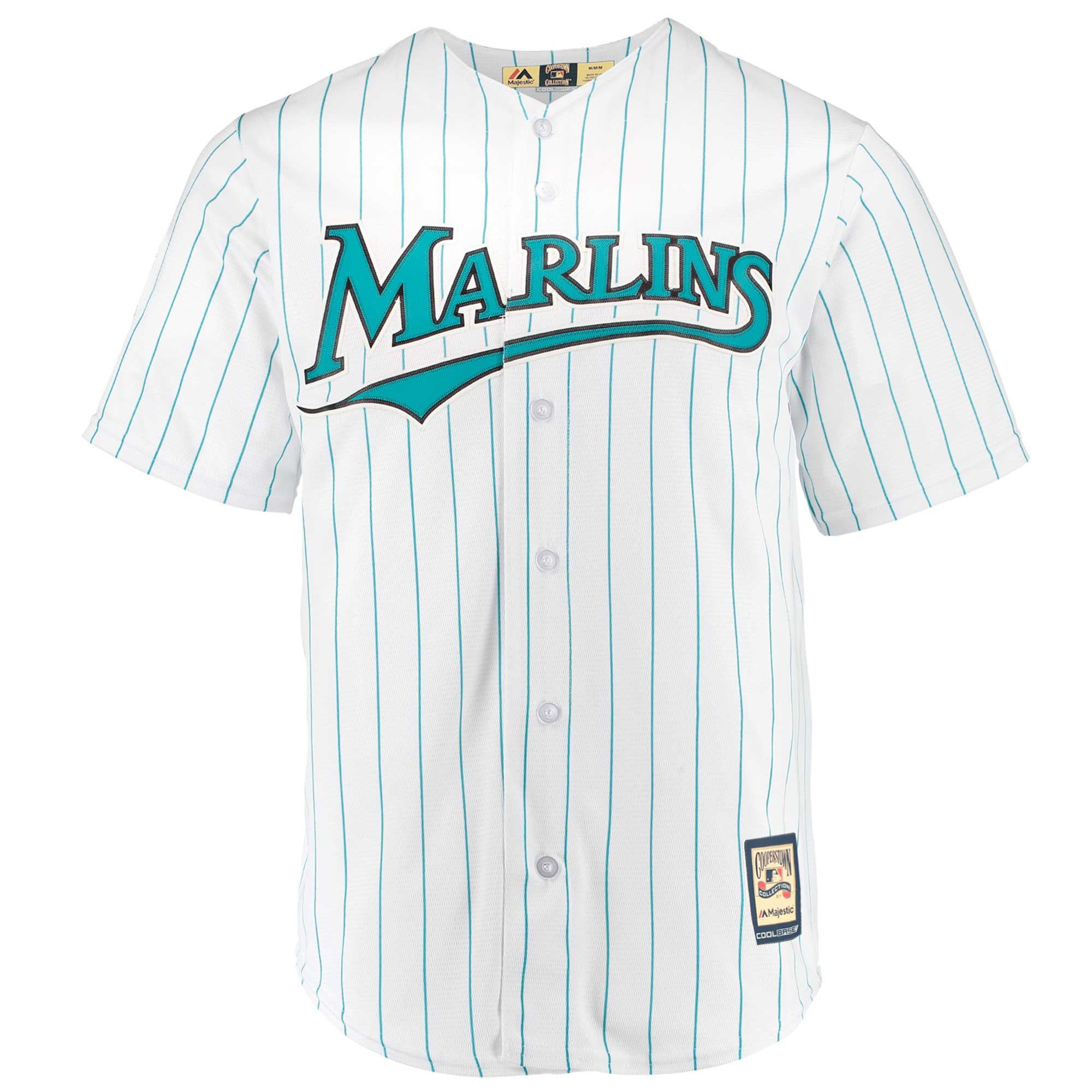 6565dabb3 Miami Marlins Majestic Home Cooperstown Collection Team Cool Base Jersey -  White Aqua - Walmart.com