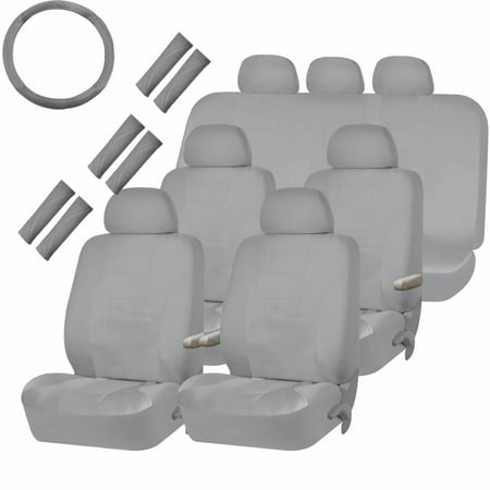 30 Piece Solid Gray Van Suv Seat Covers Split Bench