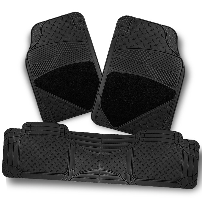 All Weather Metal Pattern Black Car Front+Rear Floor Mats 3 Pcs Liner Heavy Duty by Artzone