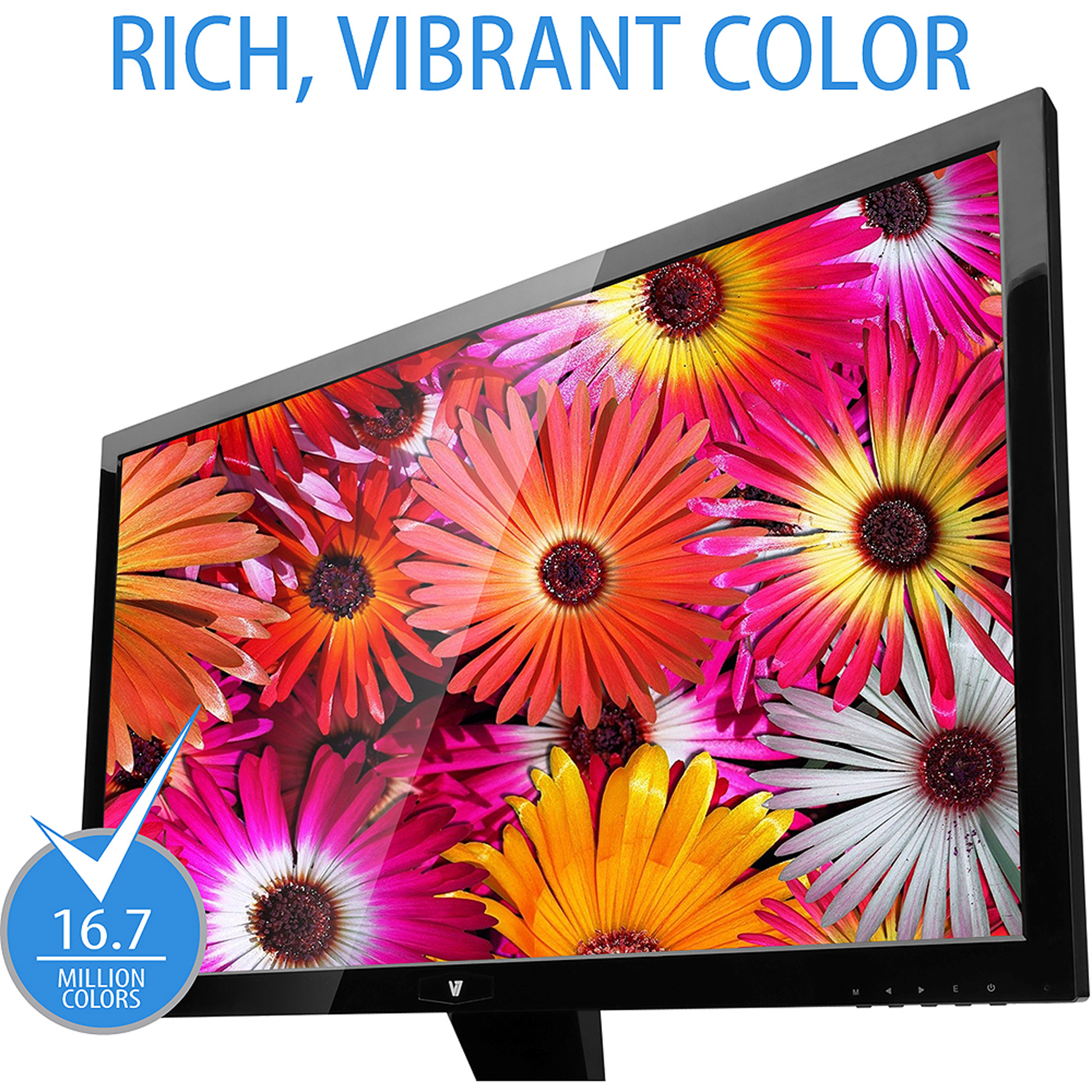 "V7 27"" 1080p Full HD Widescreen LED Monitor with Built-in Speakers (L27000WHS-9N Black)"