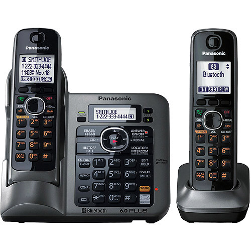 PANASONIC KX-TG7642M DECT 6.0 Link-to-Cell Bluetooth(R) Phone System with Reversible Handsets & Digital Answering System (2-handset system)