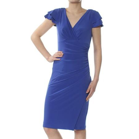 Lauren by Ralph Lauren Women's Ruched Flutter Sleeve Dress