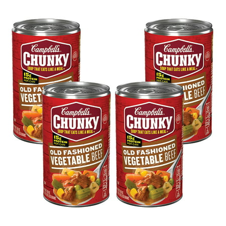 (4 Pack) Campbell's Chunky Old Fashioned Vegetable Beef Soup, 18.8 oz. (India Soup)
