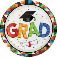 "Club Pack of 96 Graduation Fun Confetti Disposable Luncheon Plates 6.5"""