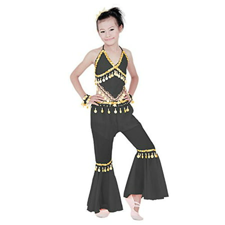 Hip Shakers Kids Professional Belly Dance Genie Costume with Gold Coins - Professional Costume Rental