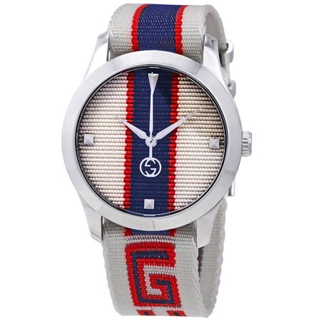 Gucci G-Timeless White/Red/Blue Dial Mens Watch YA1264071