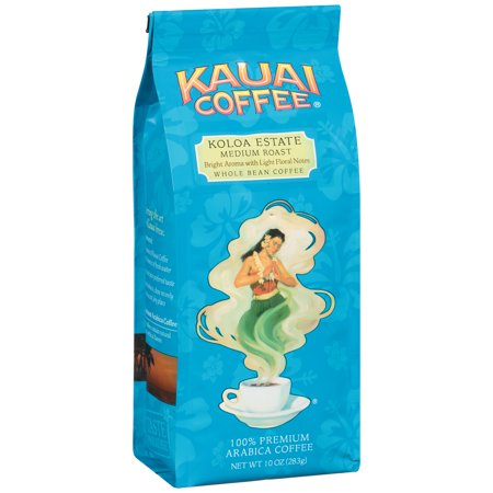 Kauai Coffee Koloa Estate Hawaiian Whole Bean Coffee, Medium Roast, 10 Ounce