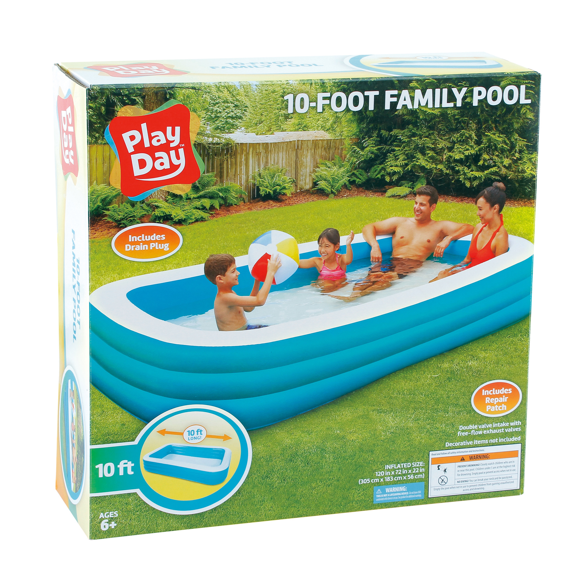 Play Day Deluxe Inflatable Family Pool 10 Walmart Com