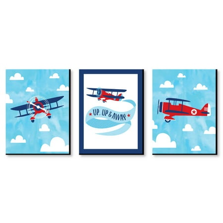 "Taking Flight - Airplane - Vintage Plane Baby Boy Nursery Wall Art & Kids Room Decor - 7.5"" x 10"" - Set of 3 -"
