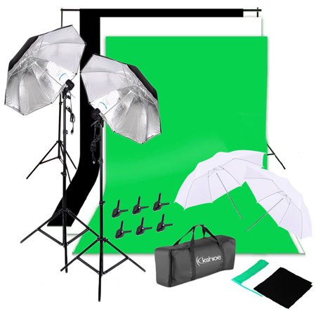 Kshioe Photo Silver Black Umbrellas Photography Lights 135W with Background Stand Muslim Cloth -