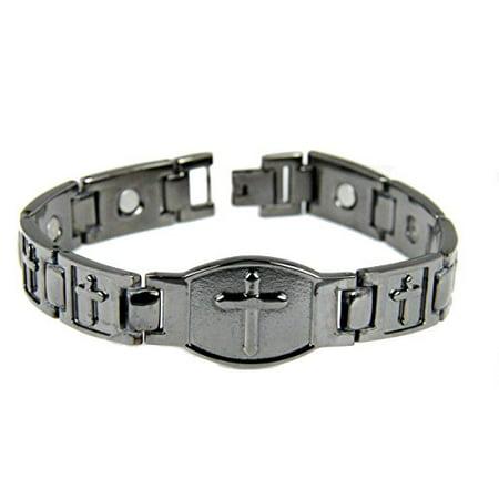 Mens Black Magnetic Bracelet Christian Cross Health Copper Tone Removeable Links (Copper Link Magnetic Bracelet)