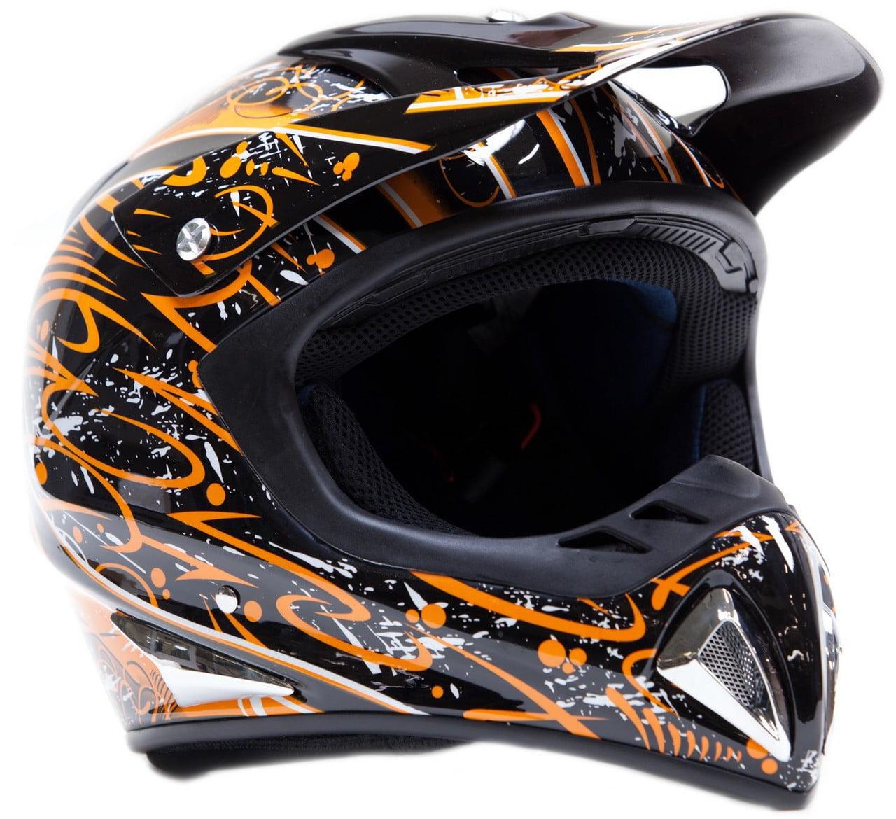 Typhoon Orange Splatter Motocross Helmet Size S