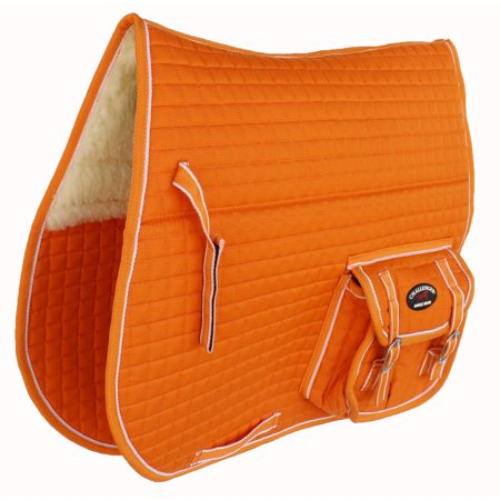 - Horse Quilted ENGLISH SADDLE PAD Pockets Half Fur Padded Australian 7274
