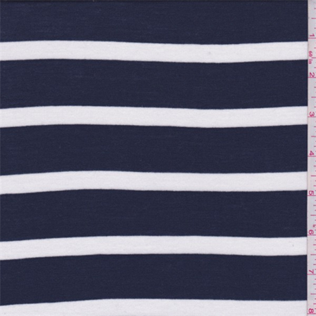 Dark Blue/White Stripe Rayon Jersey Knit, Fabric By the Yard