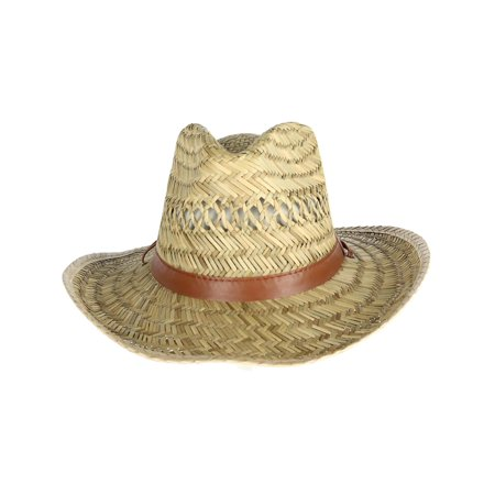 Men's Rush Straw Lightweight Safari Hat with Chin Cord,  Natural (Natural Raffia Straw Hat)
