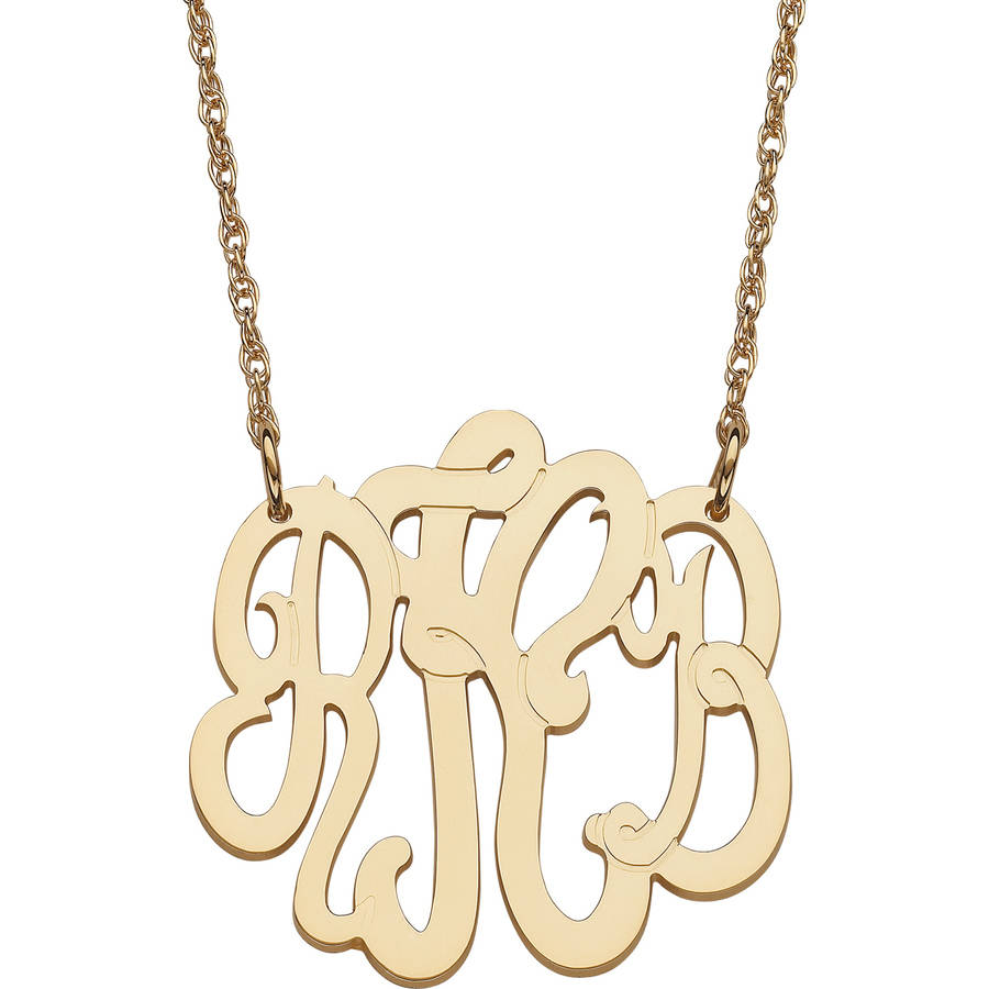 Personalized Gold over Sterling Silver 3-Initial Monogram Necklace, Small
