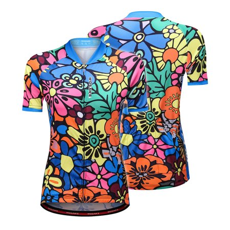 Short Sleeve Cycling Jersey for Women Flower-printed Quick Dry Summer MTB Bike Shirt Riding
