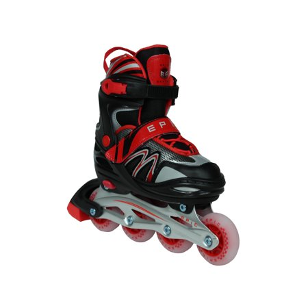 Epic Drift Adjustable Inline Roller Skates w/LED Light Up Wheels (Light Up Roller Skate Necklace)