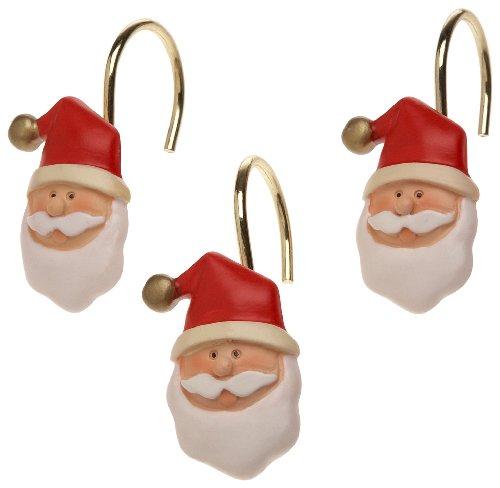Carnation Home Fashions Santa Claus Ceramic Resin Shower Curtain Hooks-set of 12