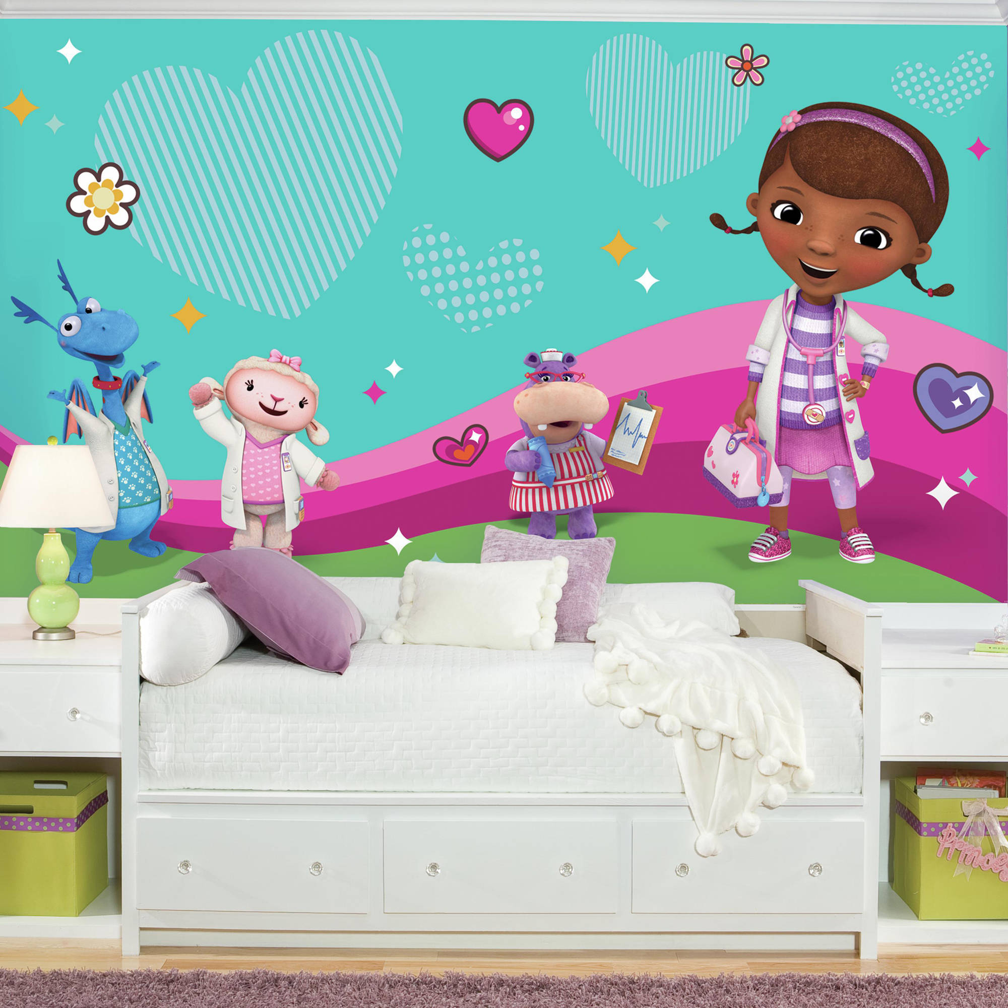 RoomMates Doc Mcstuffins and Friends XL Chair Rail Prepasted Mural, 6' x 10.5', Ultra-Strippable