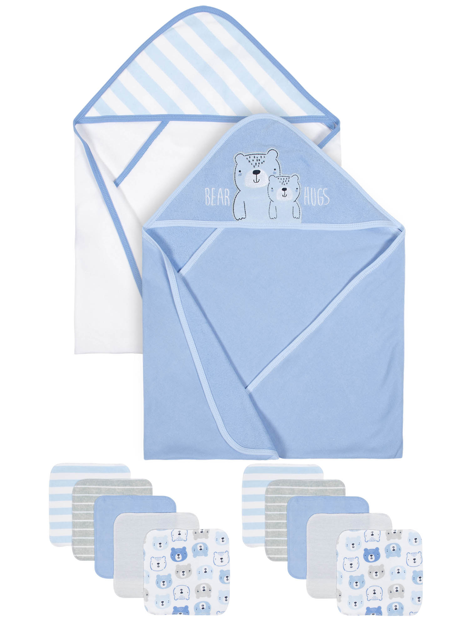 Gerber Organic 2 pk Terry Towels and 10 Washcloths Bath Bundle (Baby Boys)