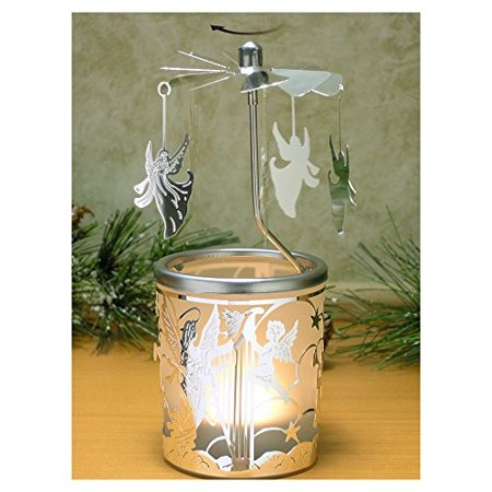 Spinning Candle - Silver Angel Charms Spin Around This Frosted Glass Scandinavian Design Candle Holder - Rotary Candleholder - Carousel Candles - Glass Angels Candle Holder