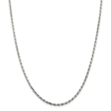 - Sterling Silver 2.5mm Sparkle-Cut Rope Chain Necklace - Length: 16 to 36