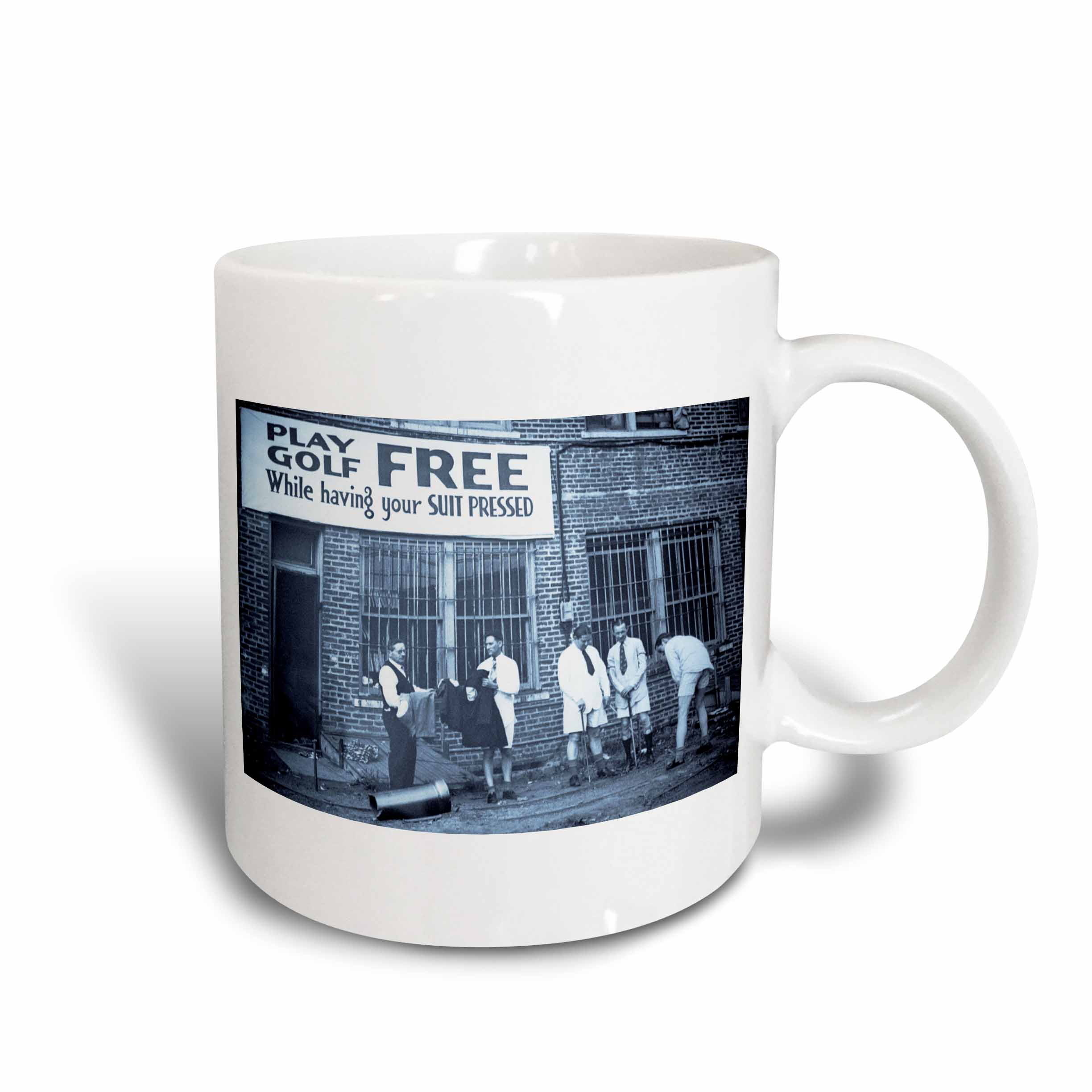 3dRose Play Golf Free While Having Your Suit Pressed Cyan tone, Ceramic Mug, 15-ounce