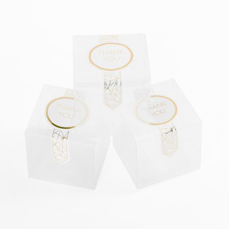 Boxes In Bulk (Andaz Press Candy Favor Box 3 x 3 x 3-Inch, Plastic Favor Boxes with Gold Foil Thank You Favor Labels, in Bulk)