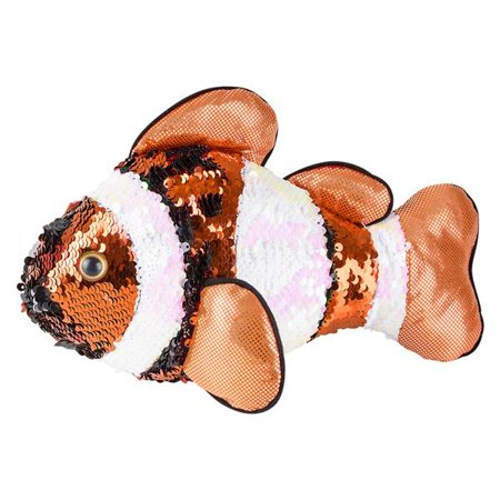 Adventure Planet Sequinimals Plush - CLOWN FISH (Sequin - Orange & Silver) (10 inch)