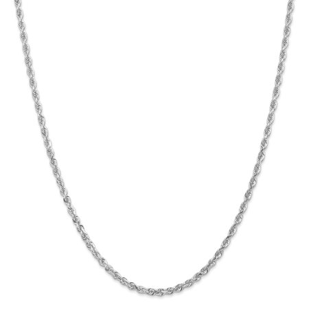 14k White Gold 3.0mm D/C Quadruple Rope Chain