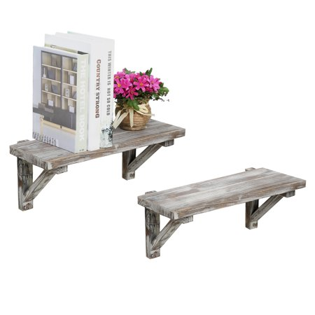 Rustic Torched Wood Wall-Mounted Storage Display Shelves with Wooden Brackets, Set of -