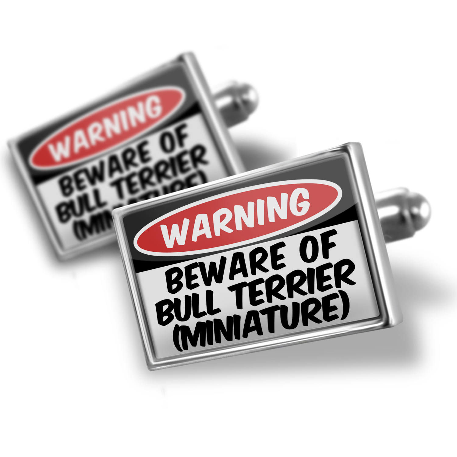 Cufflinks Beware of the Bull Terrier (Miniature) Dog from England - NEONBLOND