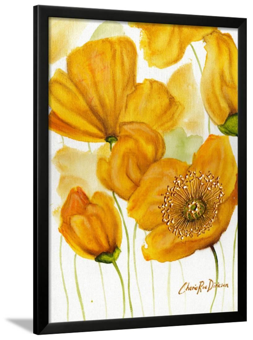 Yellow Poppies Framed Print Wall Art By Cherie Roe Dirksen - Walmart.com