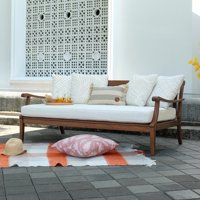 Alston Solid Wood Outdoor Sofa Daybed with White Cushion