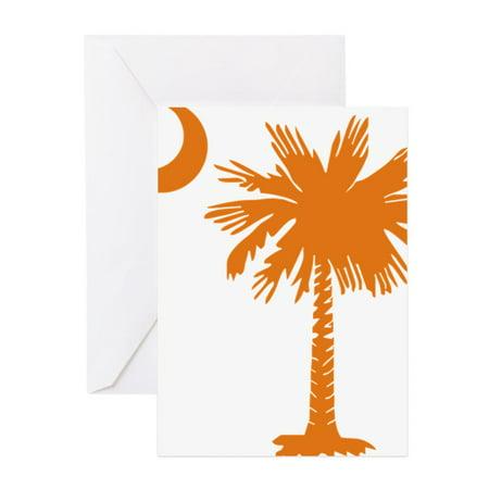 CafePress - SC Palmetto Crescent (2) Orange - Greeting Card, Blank Inside Glossy