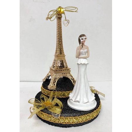Paris Eiffel Tower Gold Paris Theme Cake Top Sweet 16 Mis Quince Años Bridal Shower Gold Disguise 7.5