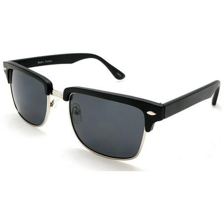 Unisex Classic Polarized Brow line Sunglasses - Vivien & Malcolm Clubmaster - Black - (Gespiegelt Clubmaster Sonnenbrille)