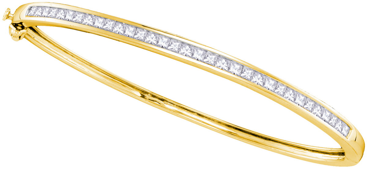 14kt Yellow Gold Womens Princess Natural Diamond Bangle Fashion Bracelet (2.00 cttw.) by Mias Collection