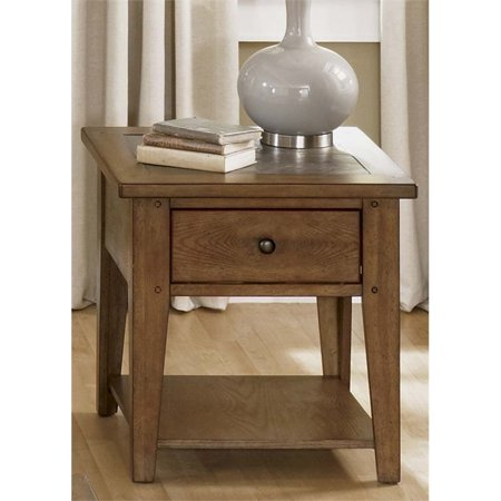 Liberty Furniture Hearthstone End Table in Rustic Oak