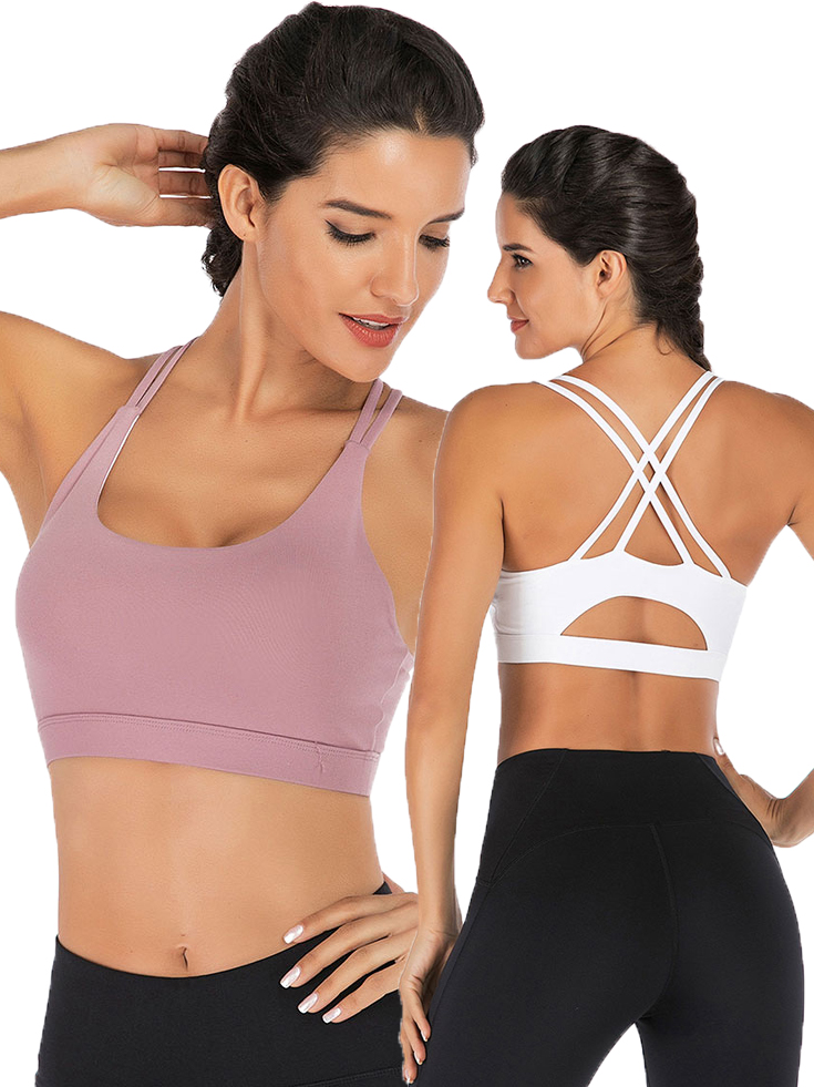 Women Cross Strappy Sport Bra with Removable Pads for Yoga Running Exercise