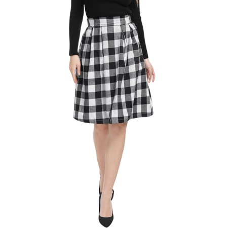 Women Inverted Pleats A-line Check Print Knee Length (Check Wool Skirt)