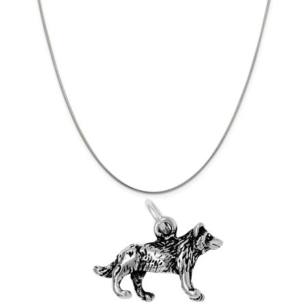 Sterling Silver 3D North American Wolf Charm on a 20 Snake Chain Necklace](Skate Necklace)