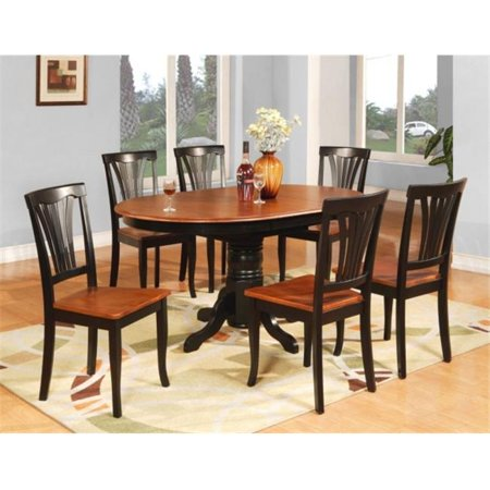 East West Furniture AVON7-BLK-W 7PC Oval Dining Set with Single Pedestal with 18 in. butterfly leaf and 6 wood seat chairs ()