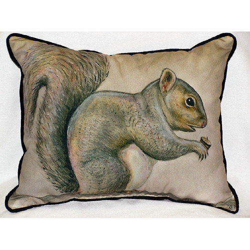 Betsy Drake Interiors Lodge Squirrel Indoor/Outdoor Lumbar Pillow