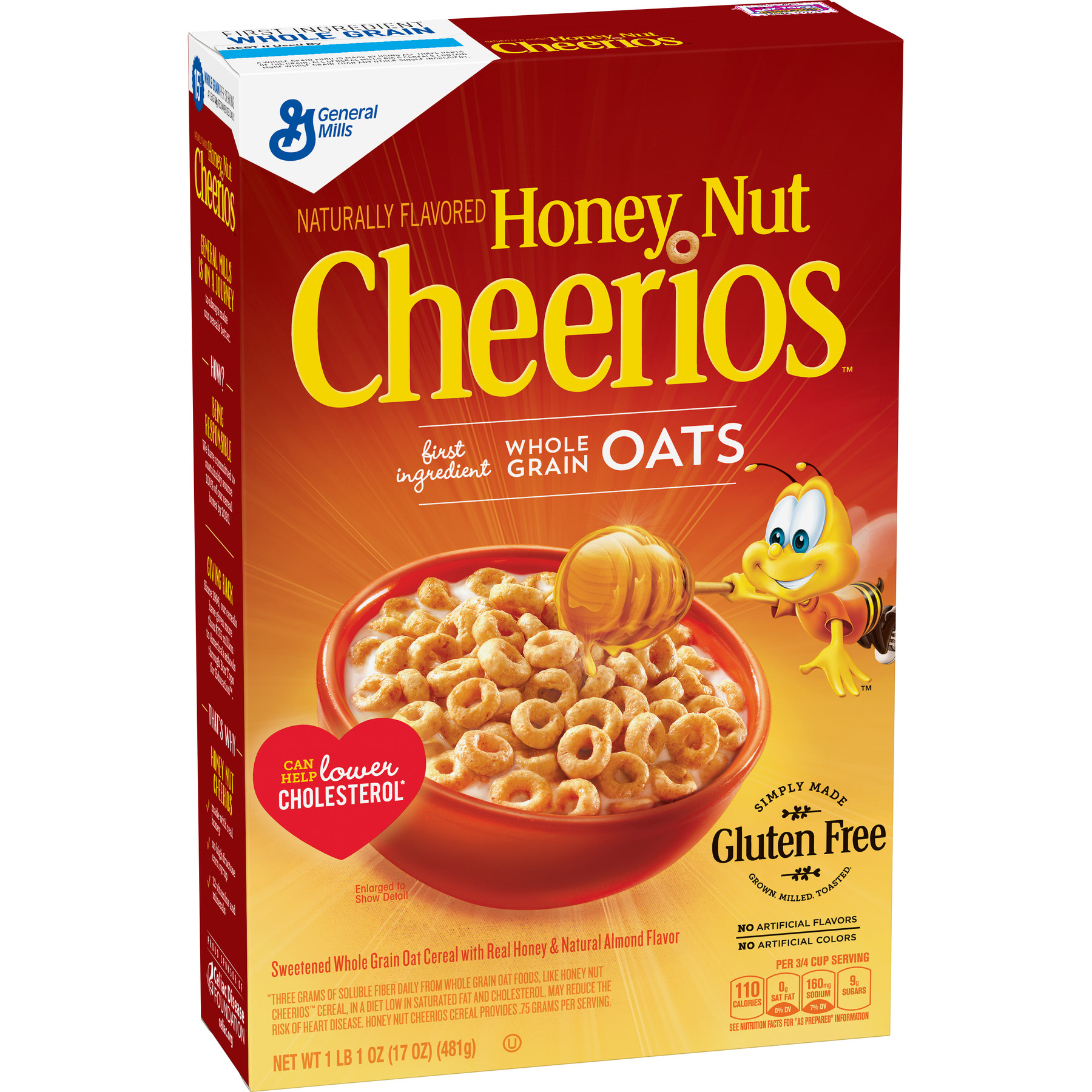 Honey Nut Cheerios Gluten Free Cereal, 17 Oz (Pack of 2)