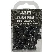JAM Push Pins, Black Pushpins, 100/Pack