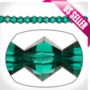 Emerald Bicone Crystal Beads 3mm, 16-Facet Surface Cutted Crystals Sold per pkg of 135cnt per strings