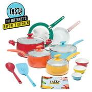 Tasty Ceramic Titanium-Reinforced Non-Stick  Cookware Set, Multicolor, 16 Piece