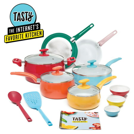 Tasty Ceramic Non-Stick 16-Piece Cookware Set, Titanium-Reinforced, Dishwasher Safe, Multicolor